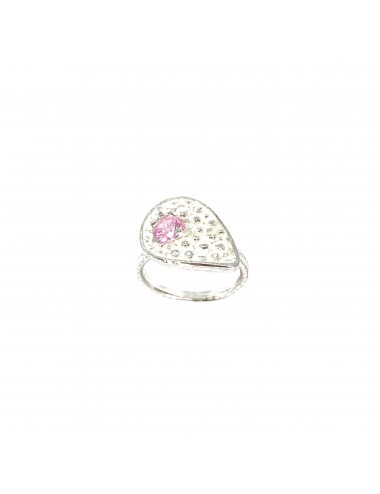 Organic small Drop Ring in Sterling Silver with Pink Circonita