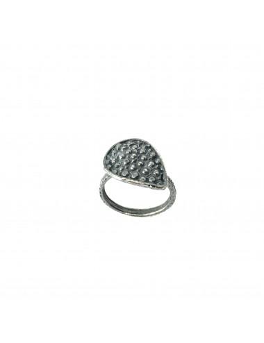 Organic Drop Ring in Dark Sterling Silver
