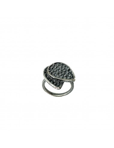 Organic double Drop Ring in Dark Sterling Silver