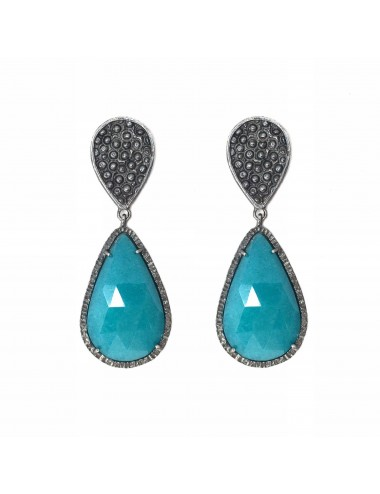 Organic Drop Earrings in Sterling Silver with Turquoise Jade