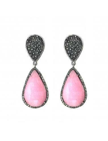 Organic Drop Earrings in Sterling Silver with Pink Jade