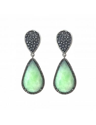 Organic Drop Earrings in Sterling Silver with Apple Green Jade