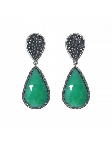 Organic Drop Earrings in Sterling Silver with Green Jade