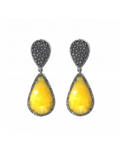 Organic Drop Earrings in Sterling Silver with Yellow Jade