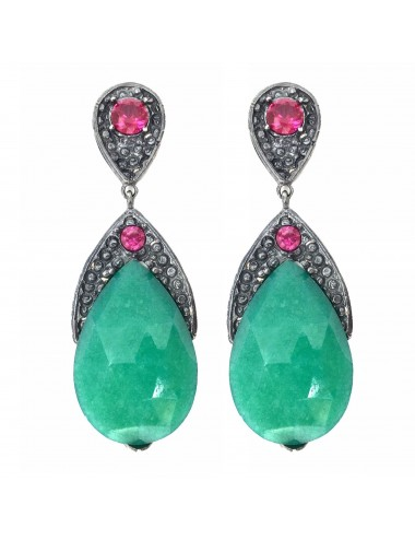 Organic Drop Earrings in Sterling Silver with Green Jade and 2 Rubies