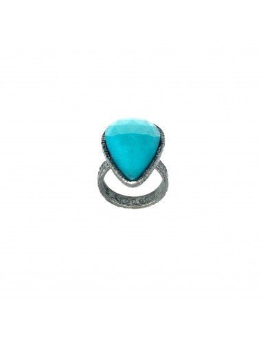 Organic medium Drop Ring in Dark Sterling Silver with Turquoise Jade