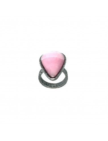 Organic medium Drop Ring in Dark Sterling Silver with Pink Jade