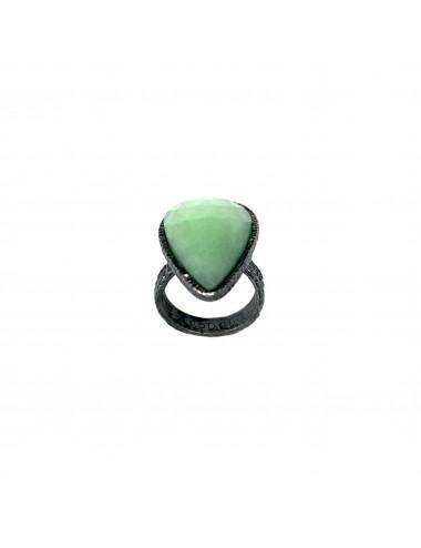 Organic medium Drop Ring in Dark Sterling Silver with Apple Green Jade