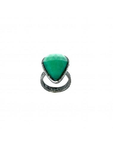 Organic medium Drop Ring in Dark Sterling Silver with Green Jade