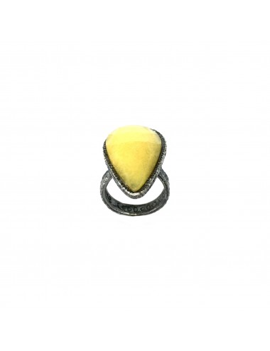 Organic medium Drop Ring in Dark Sterling Silver with Yellow Jade