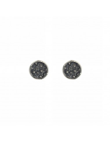 Organic Button Earrings in Dark Sterling Silver