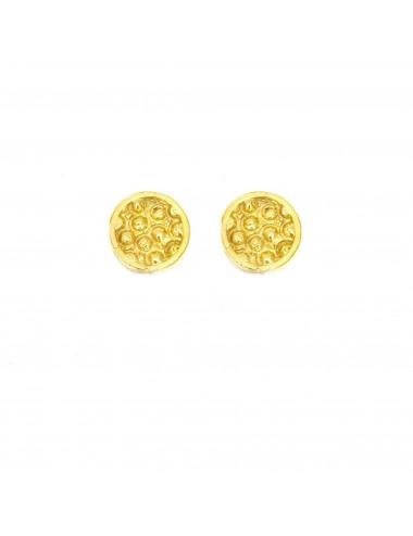 Organic Button Earrings in Sterling Silver Vermeil