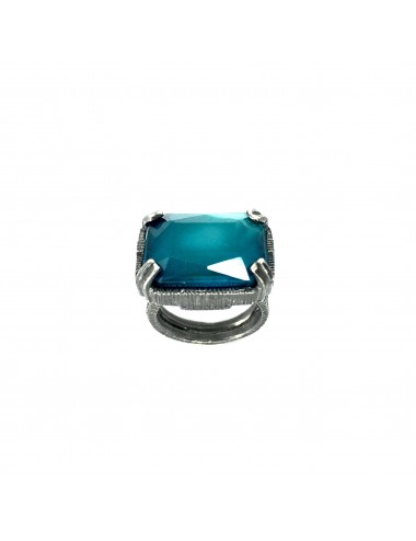 Ceramic  Rectangular Ring  in Dark Sterling Silver with Turquoise Crystal Ceramic
