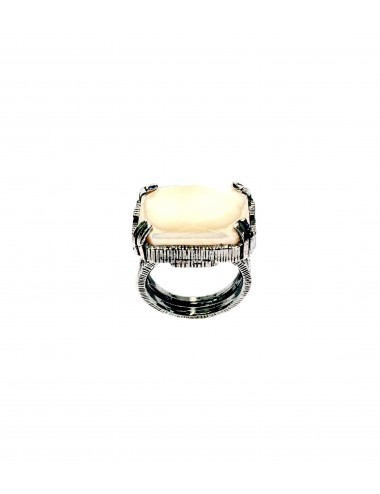 Ceramic  Rectangular Ring  in Dark Sterling Silver with Beige Crystal Ceramic
