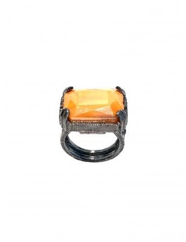 Sortija Plata Oxidada Rectangular Con Cristal Cerámico Naranja Ceramic
