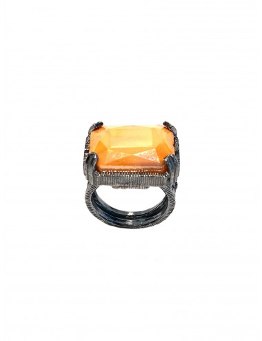 Ceramic  Rectangular Ring  in Dark Sterling Silver with Orange Crystal Ceramic