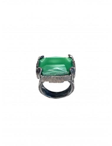 Sortija Plata Oxidada Rectangular Con Cristal Cerámico Verde Ceramic