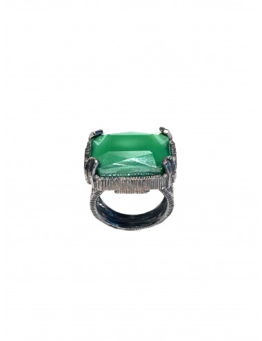 Ceramic  Rectangular Ring  in Dark Sterling Silver with Green Crystal Ceramic
