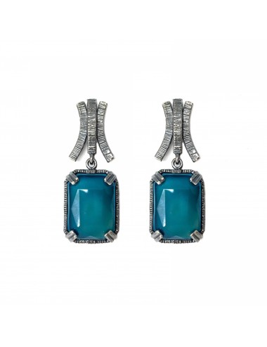 Ceramic  Rectangular Earrings  in Dark Sterling Silver with Turquoise Crystal Ceramic