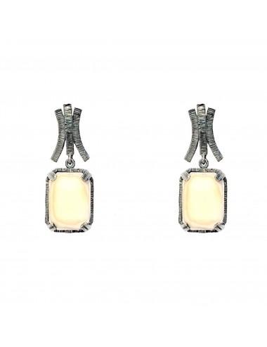 Pendientes Plata Oxidada Rectangular Con Cristal Cerámico Beige Ceramic