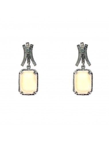 Ceramic  Rectangular Earrings  in Dark Sterling Silver with Beige Crystal Ceramic