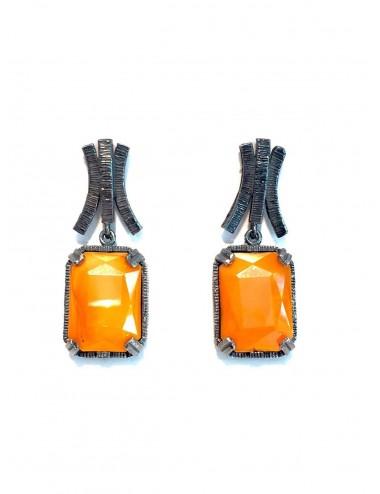 Pendientes Plata Oxidada Rectangular Con Cristal Cerámico Naranja Ceramic