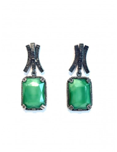 Ceramic  Rectangular Earrings  in Dark Sterling Silver with Green Crystal Ceramic