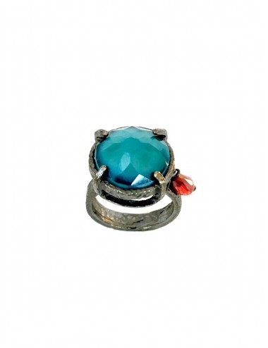 Ceramic  Round Ring  in Dark Sterling Silver with Turquoise Crystal Ceramic