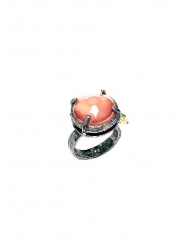 Sortija Plata Oxidada Redonda Con Cristal Cerámico Marrón Ceramic