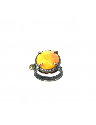 Ceramic  Round Ring  in Dark Sterling Silver with Orange Crystal Ceramic