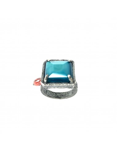 Ceramic  Square Ring  in Dark Sterling Silver with Turquoise Crystal Ceramic