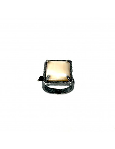 Ceramic  Square Ring  in Dark Sterling Silver with Beige Crystal Ceramic