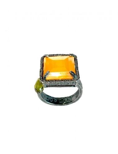 Sortija Plata Oxidada Cuadrada Con Cristal Cerámico Naranja Ceramic