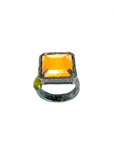 Ceramic  Square Ring  in Dark Sterling Silver with Orange Crystal Ceramic