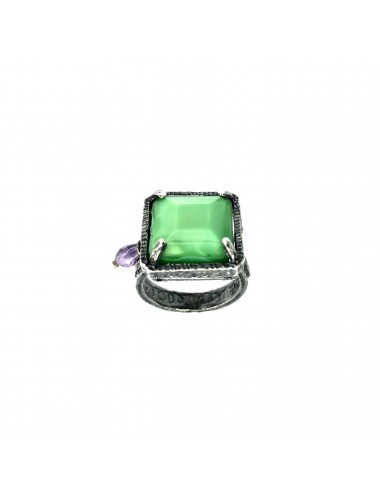 Ceramic  Square Ring  in Dark Sterling Silver with Green Crystal Ceramic