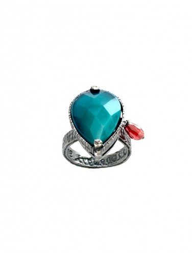Ceramic Drop Ring in Dark Sterling Silver with Turquoise Crystal Ceramic and Circonita