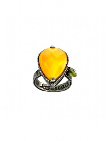 Ceramic Drop Ring in Dark Sterling Silver with Orange Crystal Ceramic and Circonita