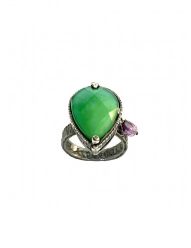 Ceramic Drop Ring in Dark Sterling Silver with Green Crystal Ceramic and Circonita