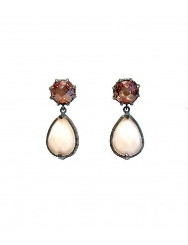 Ceramic Drop Earrings in Dark Sterling Silver with Beige Crystal Ceramic and Beige Circonita