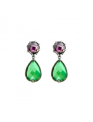 Ceramic Drop Earrings in Dark Sterling Silver with Green Crystal Ceramic and Purple Circonita