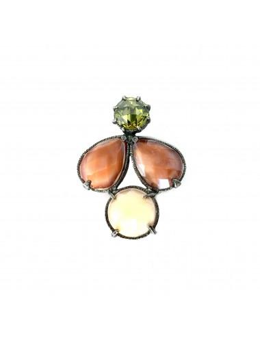 Colgante Plata Oxidada Multicolor Con Cristal Cerámico Marrón Y Beige Y Circonita Verde Ceramic