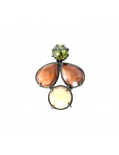 Ceramic Multicolor Pendant in Dark Sterling Silver with Brown Beige Crystal Ceramic Multicolor and Green Circonita
