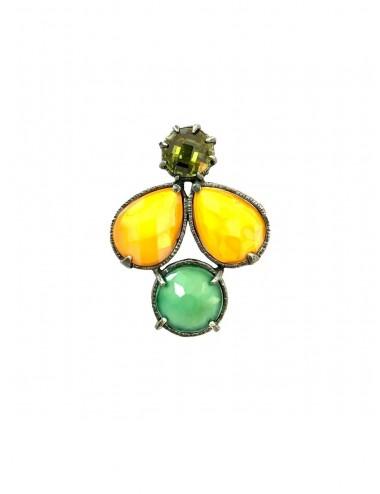 Ceramic Multicolor Pendant in Dark Sterling Silver with Orange Green Crystal Ceramic Multicolor and Green Circonita