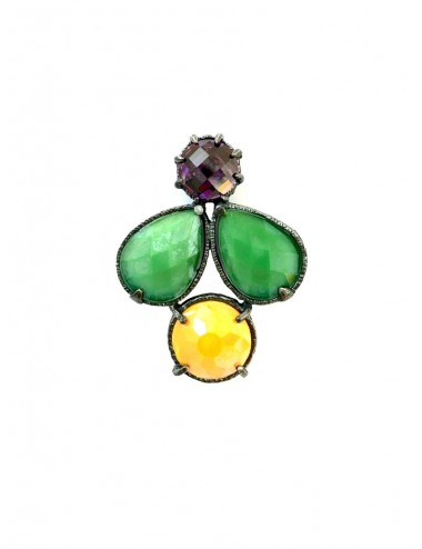 Ceramic Multicolor Pendant in Dark Sterling Silver with Green Orange Crystal Ceramic Multicolor and Purple Circonita