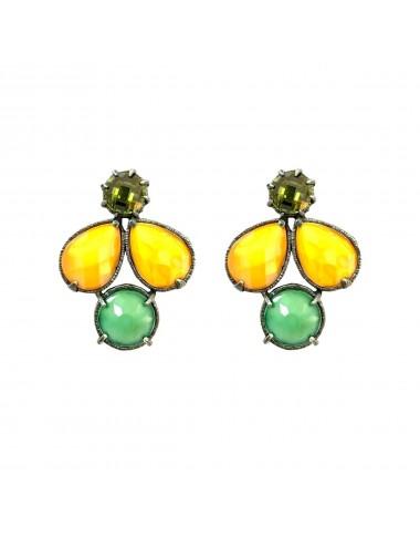 Pendientes Plata Oxidada Multicolor Con Cristal Cerámico Naranja Y Verde Y Circonita Verde Ceramic