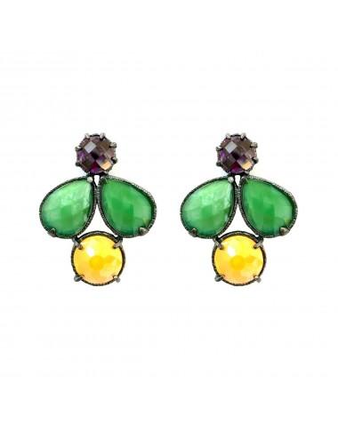 Pendientes Plata Oxidada Multicolor Con Cristal Cerámico Verde Y Naranja Y Circonita Morada Ceramic