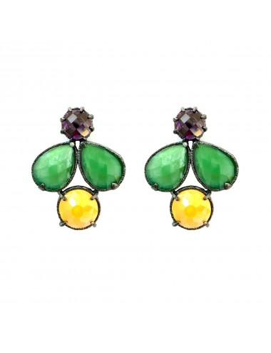 Ceramic Multicolor Earrings in Dark Sterling Silver with Green Orange Crystal Ceramic Multicolor and Purple Circonita