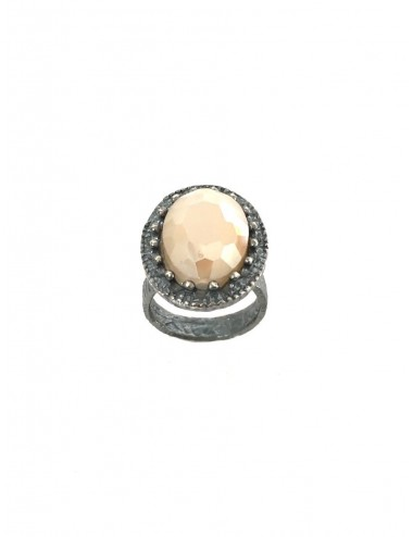 Ceramic Oval Frame Crown Ring in Dark Sterling Silver with Beige Crystal Ceramic and Circonita