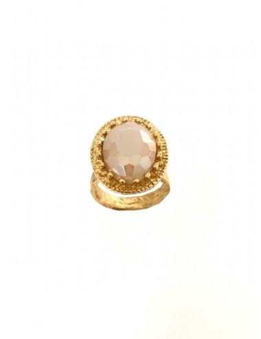 Sortija Oro Oval Corona Con Cerco Y Cristal Cerámico Beige Ceramic