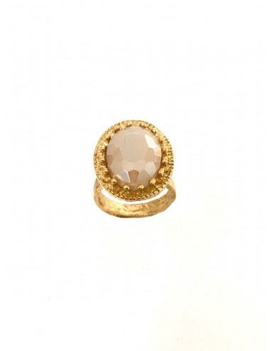 Ceramic Oval Frame Crown Ring in Sterling Silver Vermeil with Beige Crystal Ceramic and Circonita